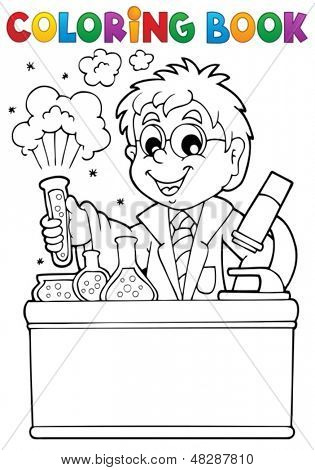 Coloring book school subject 1 - eps10 vector illustration.