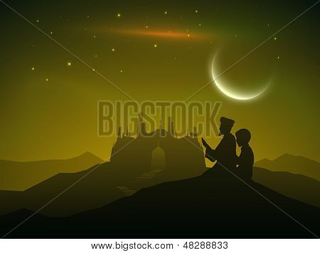 Muslim community festival Eid Al Fitr (Eid Mubarak) crescent moonlight night background with silhouette of mosque and people.
