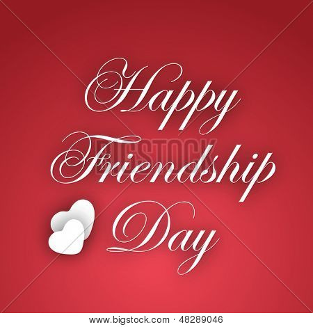 Happy Friendship Day text on abstract red background.