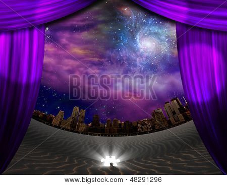 City seen through curtains in desert scene