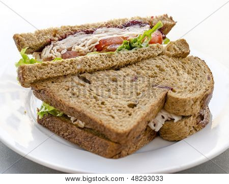 Healthy ham turkey sandwich