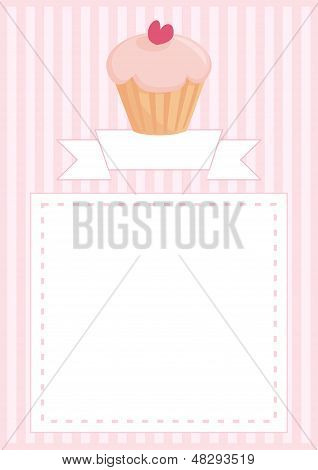 Sweet vector retro cupcake on pink vintage strips background with stripes and white space