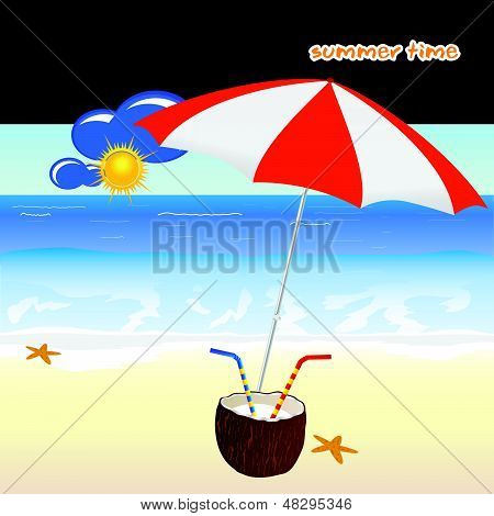 Summer Time With Coconut Art Vector