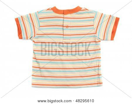 Baby boy stripy colorful T-shirt isolated on white background