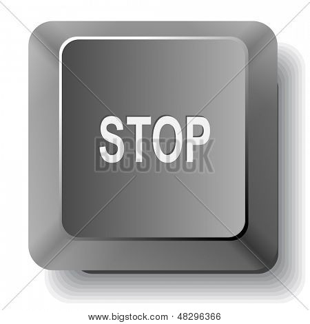 Stop. Vector computer key.
