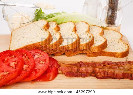 Ingredients For A Fresh Blt Sandwich