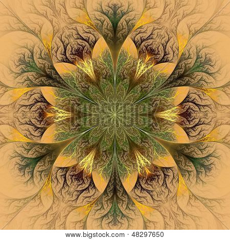 Beautiful Fractal Flower In Brown And Green. Computer Generated Graphics.