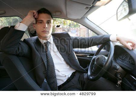 Young Suit Businessman Inside His Car