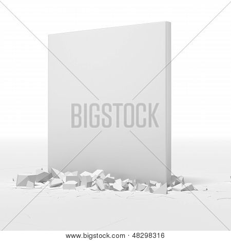 White block breaking floor