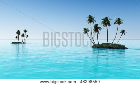 Palms on a small ocean island