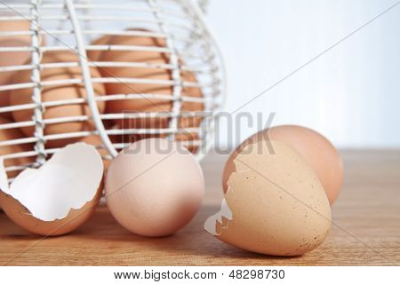 Fresh cracked eggs