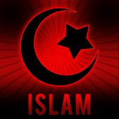 stock photo of sufi  - Islam Symbol in Red Black Burst Background - JPG