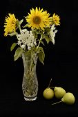 bouquet of sunflowers and pears
