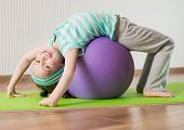 stock photo of physical education  - smiling  girl with the fitness ball   at home - JPG