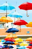 pic of serbia  - street decoration with colorful  umbrellas Belgrade - JPG