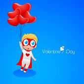 Cute little boy in superhero outfits holding red balloon on blue background, Love Concept.