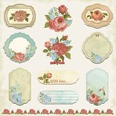 Collection holidays labels with roses and forget me not in vintage style.