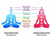 stock photo of chakra  - Meditation position for man and woman with chakras diagram - JPG