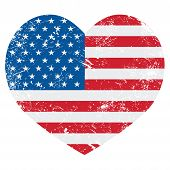 pic of state shapes  - USA vintage old flag heart shaped isolated on white - JPG