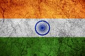pic of indian flag  - flag of India or Indian banner on rough metal background - JPG
