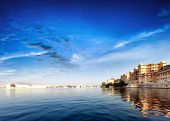 Pichola lake in India Udaipur Rajasthan. Maharajah palace and Taj Lake Palace view. Beautiful panora