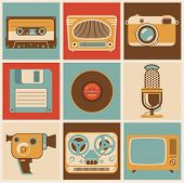 Retro media. Vector minimal flat illustration set.