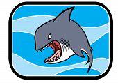 image of animated cartoon  - Illustration of a cartoon animated shark in blue ocean - JPG