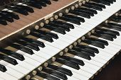 foto of pipe organ  - Church Pipe Organ Black and White Keyboard Closeup Macro - JPG