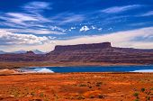 stock photo of potash  - Evaporation Pools with La Sale Mountains in the Back against beautiful blue sky - JPG