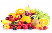 pic of abundance  - Fresh fruits and berries isolated on white - JPG