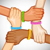 picture of  friends forever  - illustration of hand of multiracial people wearing friendship band - JPG