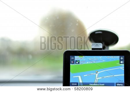 Satellite navigation system in car