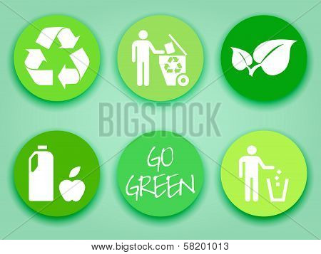 Flat Green Stickers Set