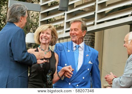 Mike Curb and Debby Boone with Pat Boone and Johnny Grant at the Ceremony honoring Mike Curb with a star on the Hollywood Walk of Fame. Vine St, Hollywood, CA. 06-29-07