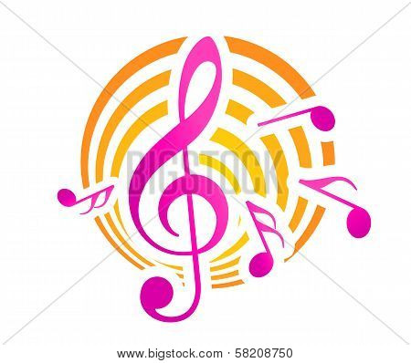 Music themed motif in yellow and pink