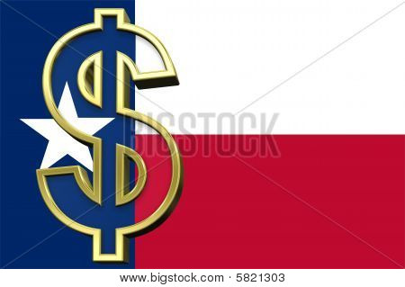 Texas flag with dollar sign.