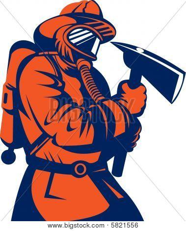 Bombero o sosteniendo un hacha de bombero