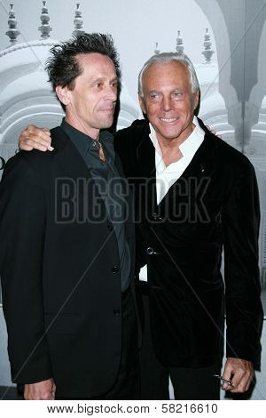 Brian Grazer and Giorgio Armani at the Giorgio Armani Prive Show to celebrate the Oscars. Green Acres, Los Angeles, CA. 02-24-07