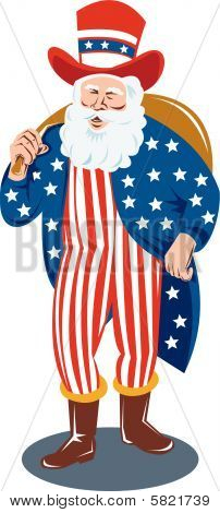 Santa  dressed as Uncle Sam