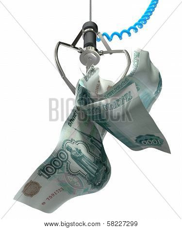 Russian Ruble In A Robotic Claw