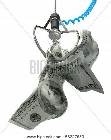 Us Dollars In A Robotic Claw