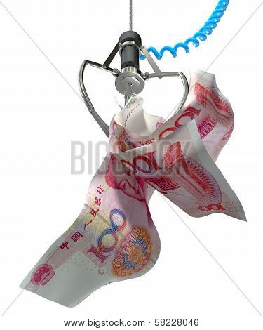 Chinese Yen In A Robotic Claw
