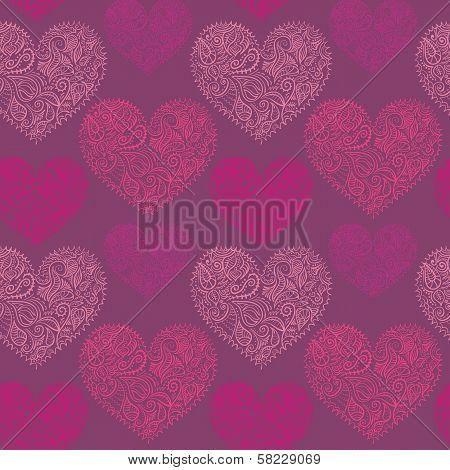 ornamental lace hearts seamless pattern
