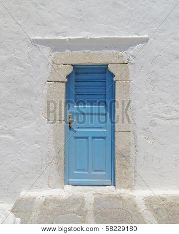 blue door Mykonos island Greece