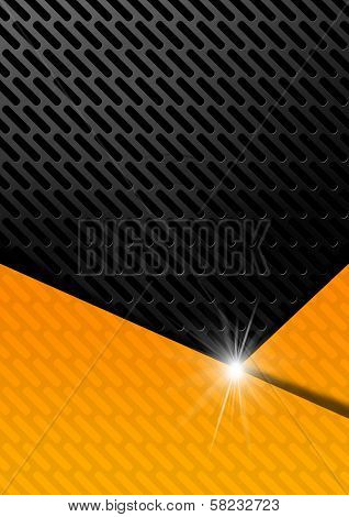 Orange And Metal Background With Grid