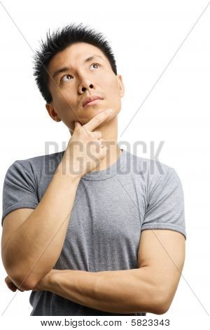 Young Asian Man Thinking