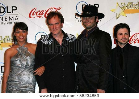 Rosario Dawson and Quentin Tarantino with Robert Rodriguez and Freddy Rodriguez at the ShoWest 2007 Awards Ceremony. Paris Hotel, Las Vegas, NV. 03-15-07