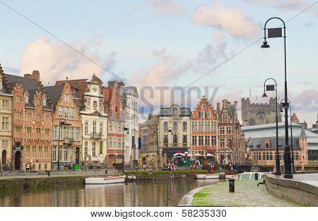 historical Graslei harbor , Ghent