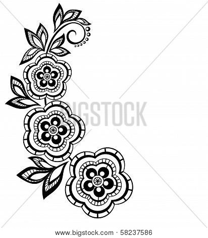 Isolated Branch With Flowers Design Element. With The Effect Of Lace Eyelets.