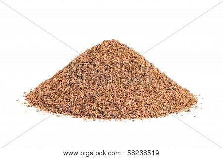 Pile Of Nutmeg Powder (myristica Fragrans) Isolated On White Background.